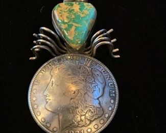 "#49    Vintage Native American Morgan silver dollar, sterling and turquoise spider pin, 2 3/4"" long  $169"