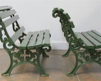 A Pair Of Antique Cast Iron Seats With Wood Slats