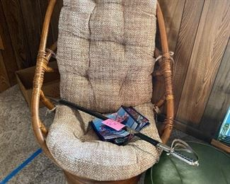 1970's Rattan chairs, set of 4