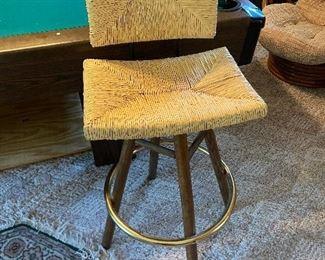 Pair of rush seat MCM bar stools