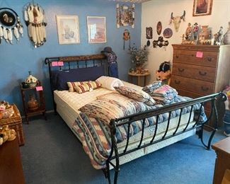 Queen bedroom suite, Southwestern art and pottery