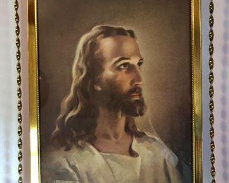 Lot #4 gold framed Jesus, $12