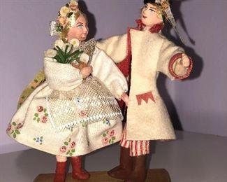 Lot #11 pair of small polish dolls, $14