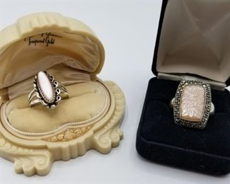 Sterling Silver Rings w Pale Pink Stone, Marcasite https://ctbids.com/#!/description/share/410183