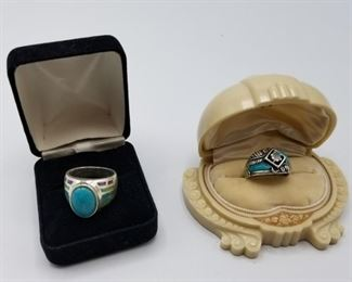 925 Sterling Silver Ring with Turquoise Southwest Design https://ctbids.com/#!/description/share/410184