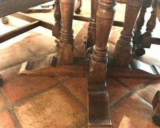 Oak Game Table  (pedestal leg detail)