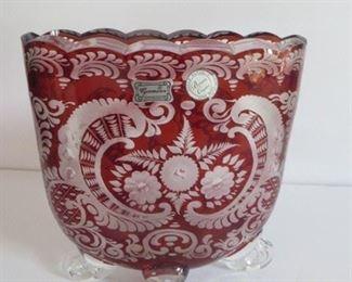 "Vintage Etched Bohemian Vase.  Approx. 8""h $45"