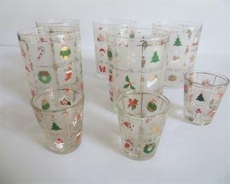 Culver Christmas  Barware:  5 hi-balls, 3 shot glasses: $30