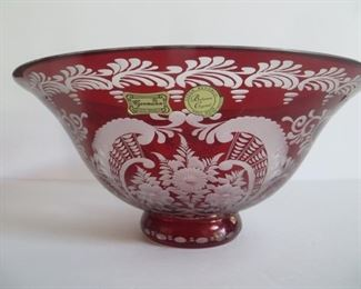 "Etched  Vintage Bohemian Glass Bowl: Approx. 10""w x 5""h"