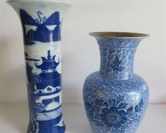 """Pair of vases:  11"""" Blue Canton Mottahedeh vase,  9"""" blue and white vase from India. $110 for the pair"""