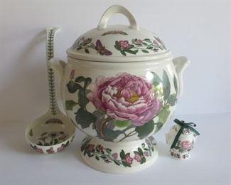 "Portmerieran Botanic Garden Soup Tureen. 19""h. w ladle and mini ornaments. Made in Britain:  $175"