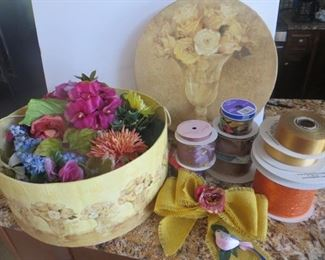 LARGE decorative hatbox fills with flowers and ribbon:  $40