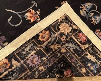 Floral Needlepoint Rug, black ground, 4' x 6'           Asking $225