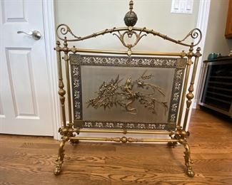 "Antique Brass Fireplace Screen with Gecko/ Lizard, 19th C, Aesthetic Movement 41""h x 35""w x 12""d   Asking $1200"