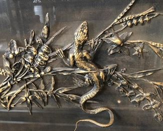 """Antique Brass Fireplace Screen with Gecko/ Lizard, 19th C, Aesthetic Movement 41""""h x 35""""w x 12""""d   Asking $1200"""