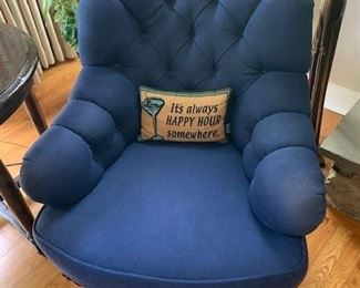 PAIR OF BLUE TUFTED CHAIRS $350 EA OR $650 PAIR