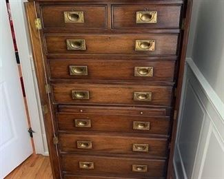 ANTIQUE ENGLISH CAMPAIGN CHEST OF DRAWERS WITH ORIGINAL BRASS HARDWARE $2400