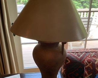 PAIR OF CLAY TABLE LAMPS $340