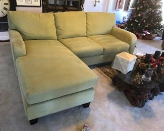 Cindy Crawford HOME Sofa with Reversible Chaise Sectional, Polyester Wrapped Cushions, Lime.