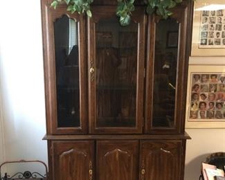 "This china cabinet is constructed of solid oak, veneers, select hardwoods and wood products. China base is 48 x 16 x 30"" and China Deck is 50 x 16 x 46"".  Original purchase price: $2,158.00.   Selling for $200.00."