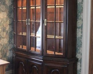 Antique Hardon China Hutch/Cabinet - Add pictures of scuffs Lights in upper cabinet - working. Upper hutch can be separated from the lower cabinet. 4 glass doors in top, 4 wooden doors with drawer in main cabinet area. Good condition.