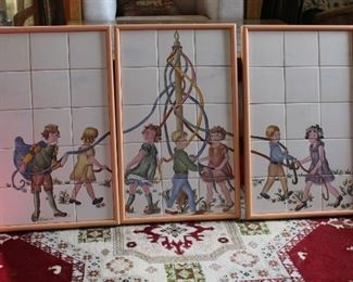 Set of 3 framed hand painted tile wall hangings Maypole theme by Wrede '98