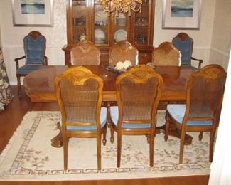"$250, Thomasville dining room table & chairs, 44 x 88"" as shown with one leaf, one more leaf available and 8 chairs. excellent condition."