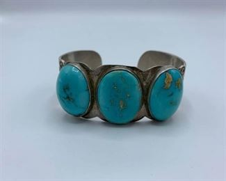 Gorgeous Vintage Silver and Turquoise Cuff