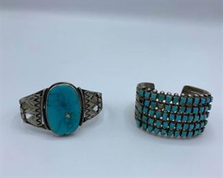 Two Large and Heavy Vintage Turquoise Cuffs