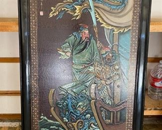 "Asian relief picture	 Framed piece 30"" x 50"" Warrior king relief painting;"