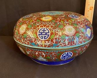 "Asian Item 3	 Metal Cloisonne 6"" h x 12"" diameter lidded bowl on wooden pedestal; Note: see photo"
