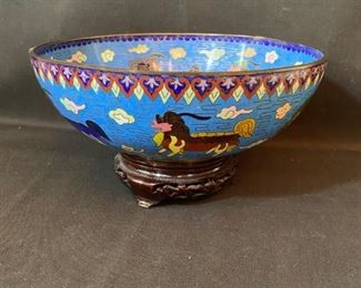 "Asian Item 6	 Metal Cloisonne 10"" dia bowl on wooden pedestal; Note: see photos"