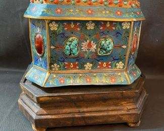 "Asian Item 7	 Metal Cloisonne 10"" x 7"" rectangular box w/lid-may have jade pieces; one piece of jade taped to inside bottom of box, on wooden pedestal; Note: see photos"