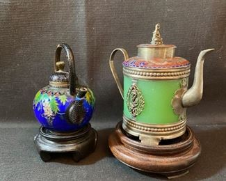 "Asian Item 9	 2-Metal Cloisonne 4"" tea pots: 1 maybe jade on wooden pedestals; Note: see photos for marks"