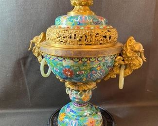 "Asian Item 11	 Metal Cloisonne 17""h urn on wooden pedestal-may have jade pieces; Note: see photos"