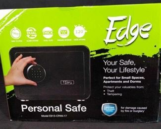 NEW Edge safe Perfect little size safe to hold your personal belongings or handguns. 10.3x13.75x11.75 Brand new in box.