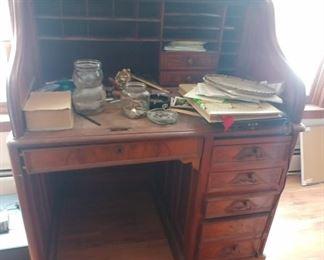 Victorian Walnut roll top desk $200