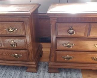Pair of solid oak nightstands top need some finish work $90 for the pair