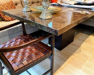 Fossilized rectangular breakfast room table with wood base