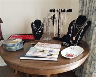 Various Jewelry Items and Beautiful Handpainted Oriental Plate Set
