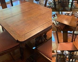 Carved Pedestal table with hideaway leafs, 4 chairs          I don't usually come across these in such good condition!                                                                                         Measures 3ft x 3ft, leaves are 12 inches each                            PRICE: $500 or best reasonable offer