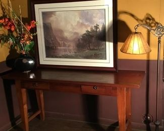 Teak Sofa or Library Table. (63in W x 18-3/4in D x 30in H).  Faux Orchid, Antique Floor Lamp and Framed Bierstadt print.