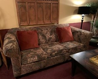 1 of 2 Velveteen Upholstered sofas in gold and green tones. There are two identical sofas for sale.