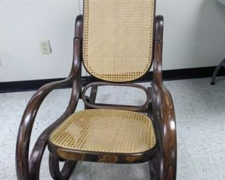 Wood and Cane Rocking Chair