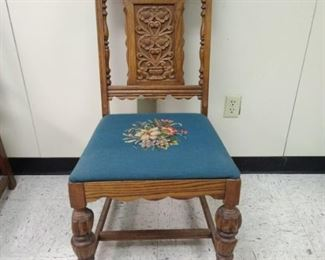 Teal cloth Antique Wooden Chair
