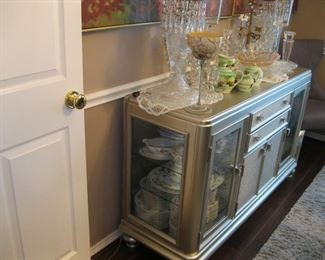 "Matching very very unique SILVER Coralayne buffet / sideboard from Ashley Signature Designs, display glass ends, 18"" D x 56"" W x 34"" T."