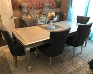 Very very unique SILVER Coralayne dining table and 8 chairs WITHOUT ALL THE STUFF ON IT!