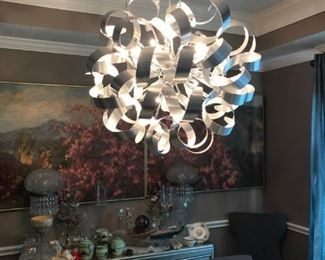 FREE HANGING LIGHT FIXTURE WITH THE PURCHASE OF THE SILVER DINING ROOM SET!