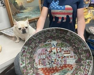 $375 LARGE ASIAN ROSE FAMILLE BOWL W/STAND