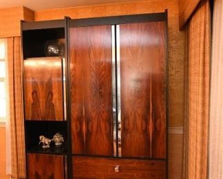 Item 1: Modular China Cabinets: $485     Three pieces, two towers and one cabinet with drawers. Bookmatched rosewood doors and drawers, matte black frame, chromed knobs and door details. Maker unknown